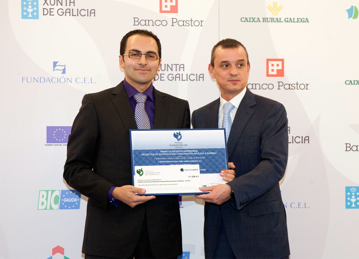 Accésit Premio de Investigación e Innovación Aplicada a la Empresa : Mejora organoléptica de vinos desalcoholizados - Raisin Dor S.L.